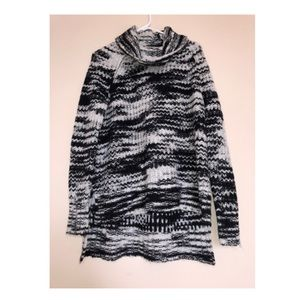 Never-worn Patterned High-low Cowl Neck Sweater